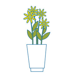 Vase with flowers icon vector