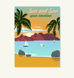 vintage summer vacation poster blank vector image