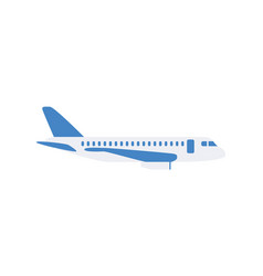 white passengers airplane with cartoon icon flat vector image