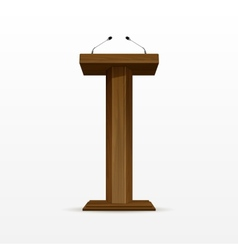 Wood Podium Tribune Rostrum Stand with Microphones vector image