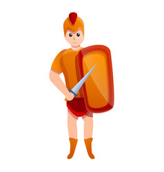 Young gladiator icon cartoon style vector