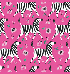 zebra flat hand drawn seamless pattern vector image