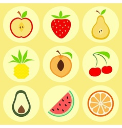 Flat fruit icons vector image vector image