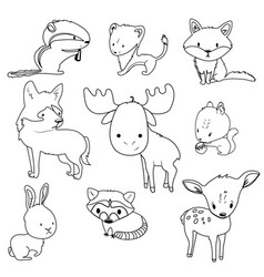 forest animals outlines set vector image