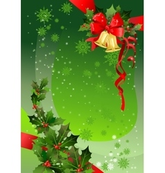 Green Christmas background with holly vector image vector image