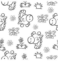 pattern giraffe and flower hand draw vector image