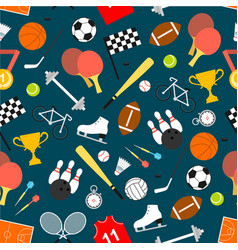 sporting equipment and item seamless pattern vector image