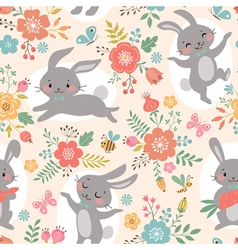 Spring rabbits pattern vector image vector image
