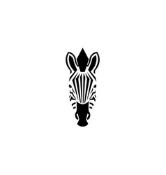 zebra head logo negative space style vector image vector image