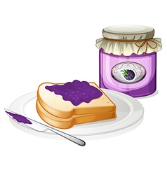 A slice bread and a bottle of grape jam vector image vector image