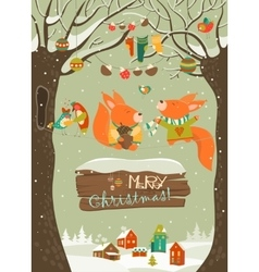 Cute squirrels celebrating Christmas vector image vector image