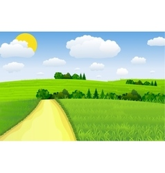 Green Landscape with trees clouds vector image vector image
