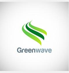 green wave abstract logo vector image