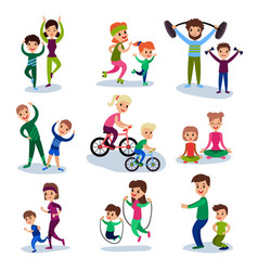 parents and their kids training and doing sportive vector image