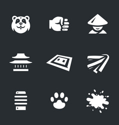 set of karate icons vector image