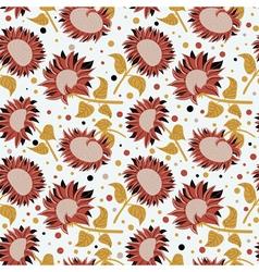 beautiful colorful sunflowers seamless pattern vector image