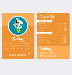 flyer template for a bakery with cartoon style vector image
