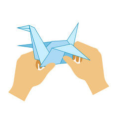 two hands doing origami paper crane elementary vector image