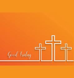 cross for good friday on orange background vector image