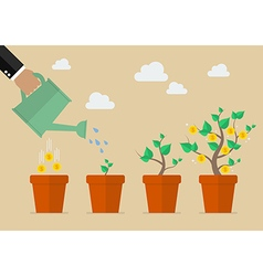 Hand with can watering money tree vector image vector image