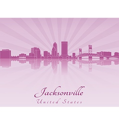 Jacksonville skyline in purple radiant orchid vector image