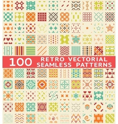 Retro different seamless patterns with swatch vector image vector image