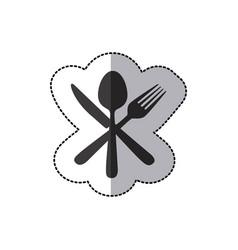 sticker silhouette cutlery icon vector image vector image