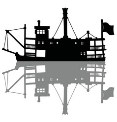 the black silhouette of a vintage steam riverboat vector image