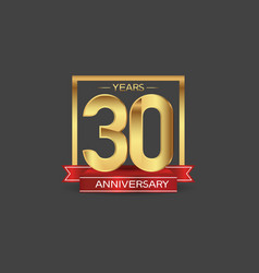 30 years anniversary logo style with golden vector