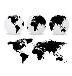 abstract globes with abstract world map vector image
