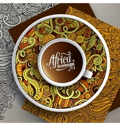 African doodle cup of coffee vector image