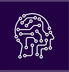 Ai artificial intelligence icon techno human head vector