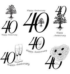 Anniversary 40th signs collection vector image