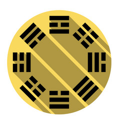 Bagua sign flat black icon with flat vector