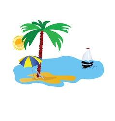 Beach with stuff on white vector