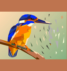 Bird kingfisher on a branch with fish in its vector