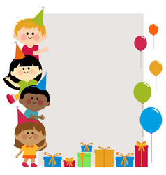 birthday banner with kids vector image