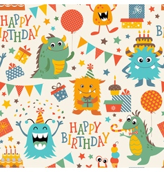 Birthday monsters pattern vector