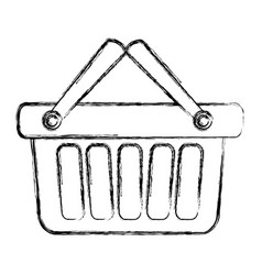 blurred silhouette shopping basket with two handle vector image
