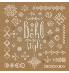 Borders and decoration ethnic signs with Boho vector image