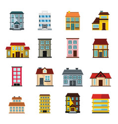 Buildings set in cartoon flat style vector