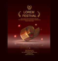 Camera film 35 mm roll gold festival movie poster vector