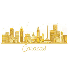 Caracas venezuela city skyline golden silhouette vector