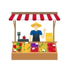 Cartoon farmer vegetable seller vector