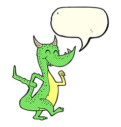 Cartoon happy dragon with speech bubble vector