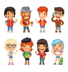 Casually Dressed Cartoon Characters vector image