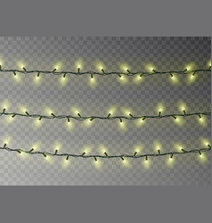 Christmas yellow lights string transparent effect vector