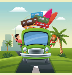 couple bus travel vacation luggage road landscape vector image