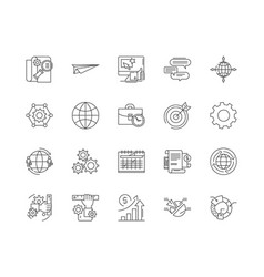 data center line icons signs set outline vector image