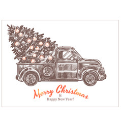 delivery christmas tree on retro car pickup vector image